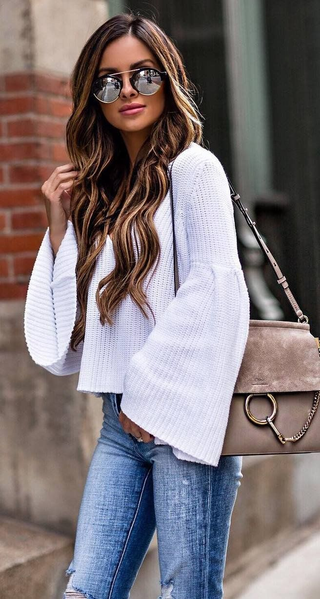 fashion trends white top bag skinny jeans | Fashion trend