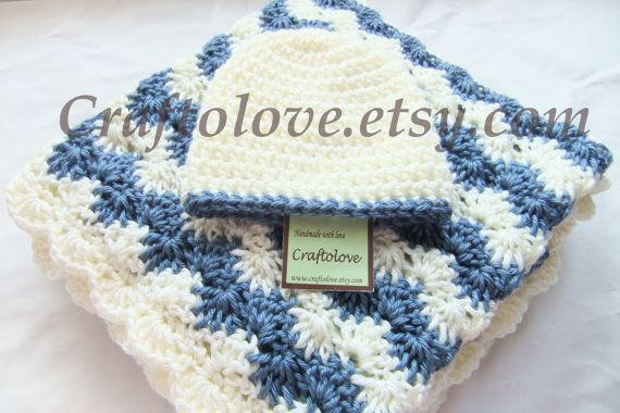 Baby Boy Shower Gift Set - Crochet baby blanket- Baby Boy Blanket - Medium Antique White/Country Blue Shell waves blanket and Hat #babyboyblankets