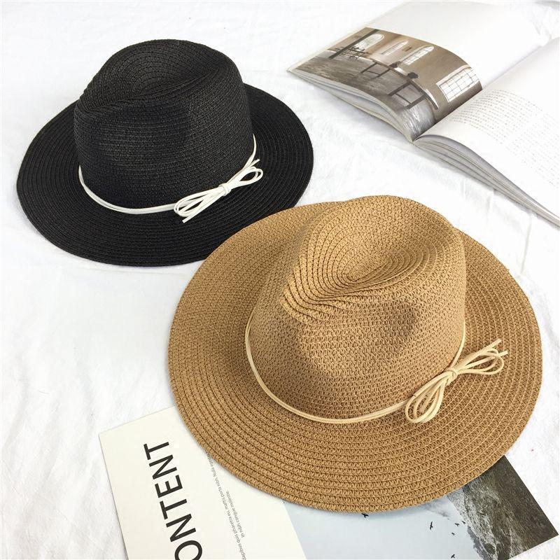 daf9500da38 Summer travel shade bow straw hat Ladies beach sunscreen sun jazz hat  Simple wild
