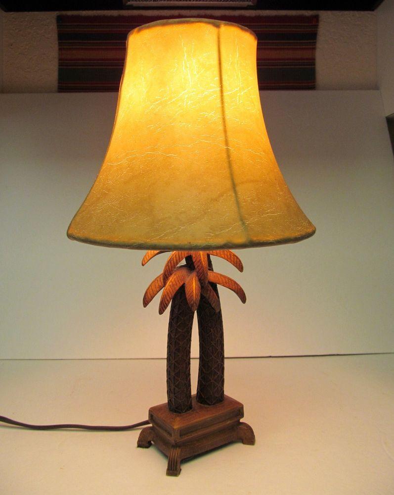 Palm Tree Lamp Wood Ceramic Deer Skin Like Vintage Lamp Shade 16 Working Unbranded Tropical Antique Lamp Shades Vintage Lamps Contemporary Lamp Shades