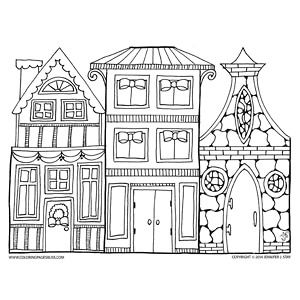 Christmas Village Coloring Page Coloring Pages Christmas Coloring Pages House Colouring Pages