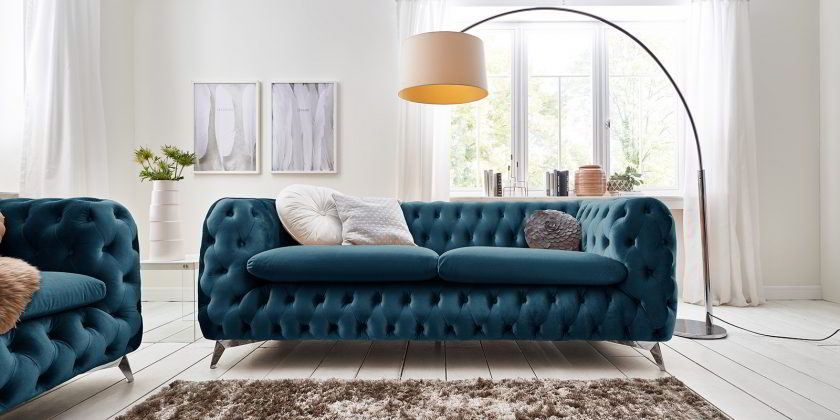 3 Sitzer Chesterfield Sofa Emma Samt Chesterfield Sofa