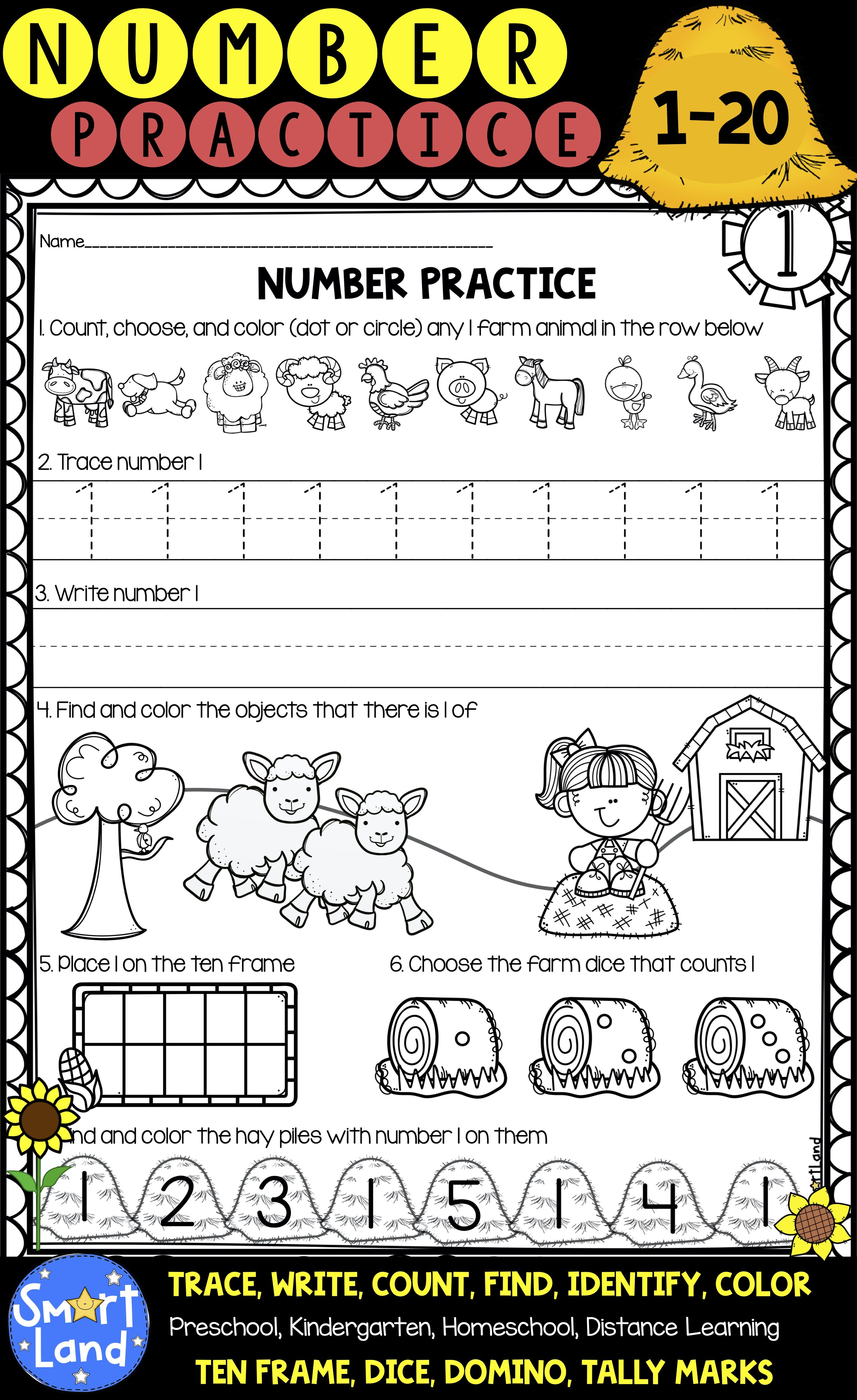 Number Practice 1 20 Handwriting And Counting
