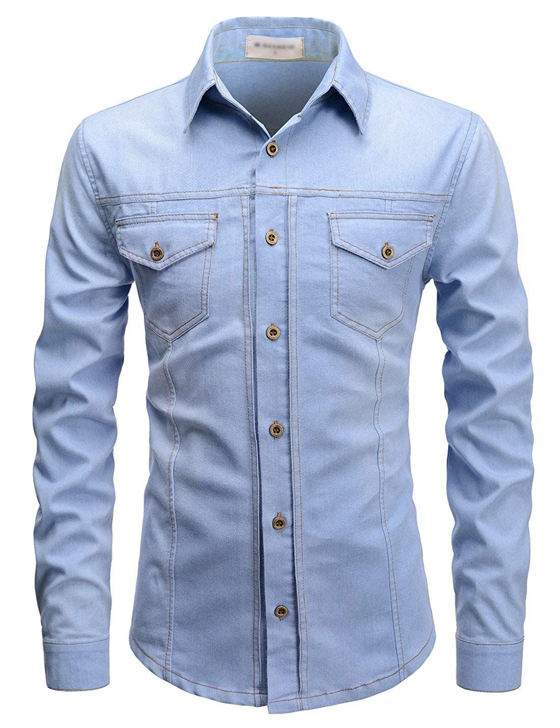 216adbe9b5 TheLees Slim Chest Two Pocket Vintage Washing Denim Long Sleeve Stretchy  Shirts at Amazon Men s Clothing