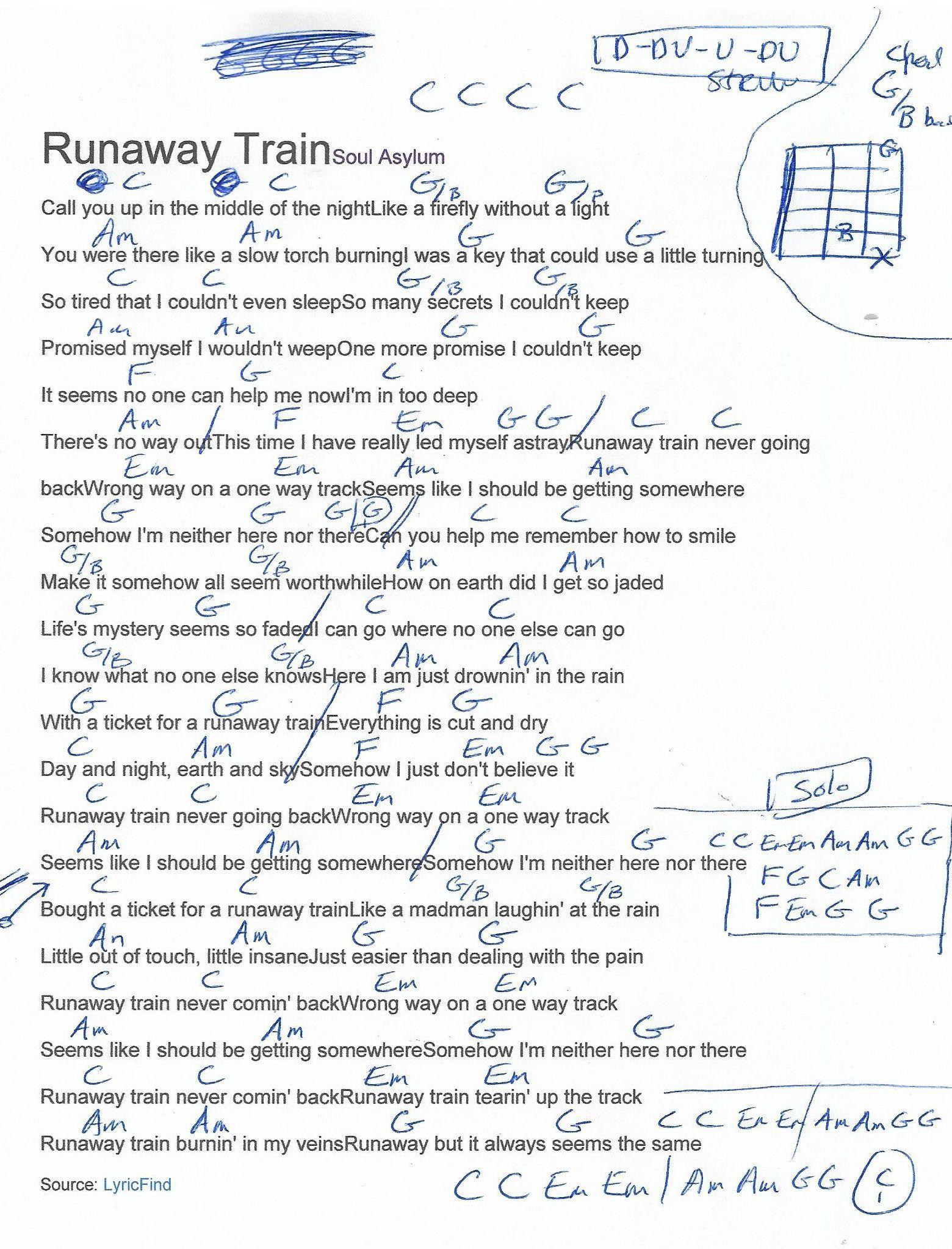 Runaway Train Soul Asylum Guitar Chord Chart   Lyrics and chords ...