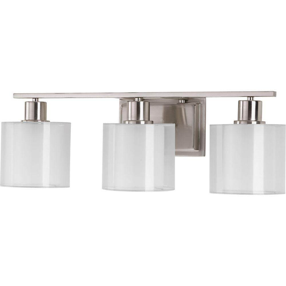 Progress Lighting Invite Collection 3Light Brushed Nickel Bath Simple Home Depot Bathroom Light Fixtures Design Decoration