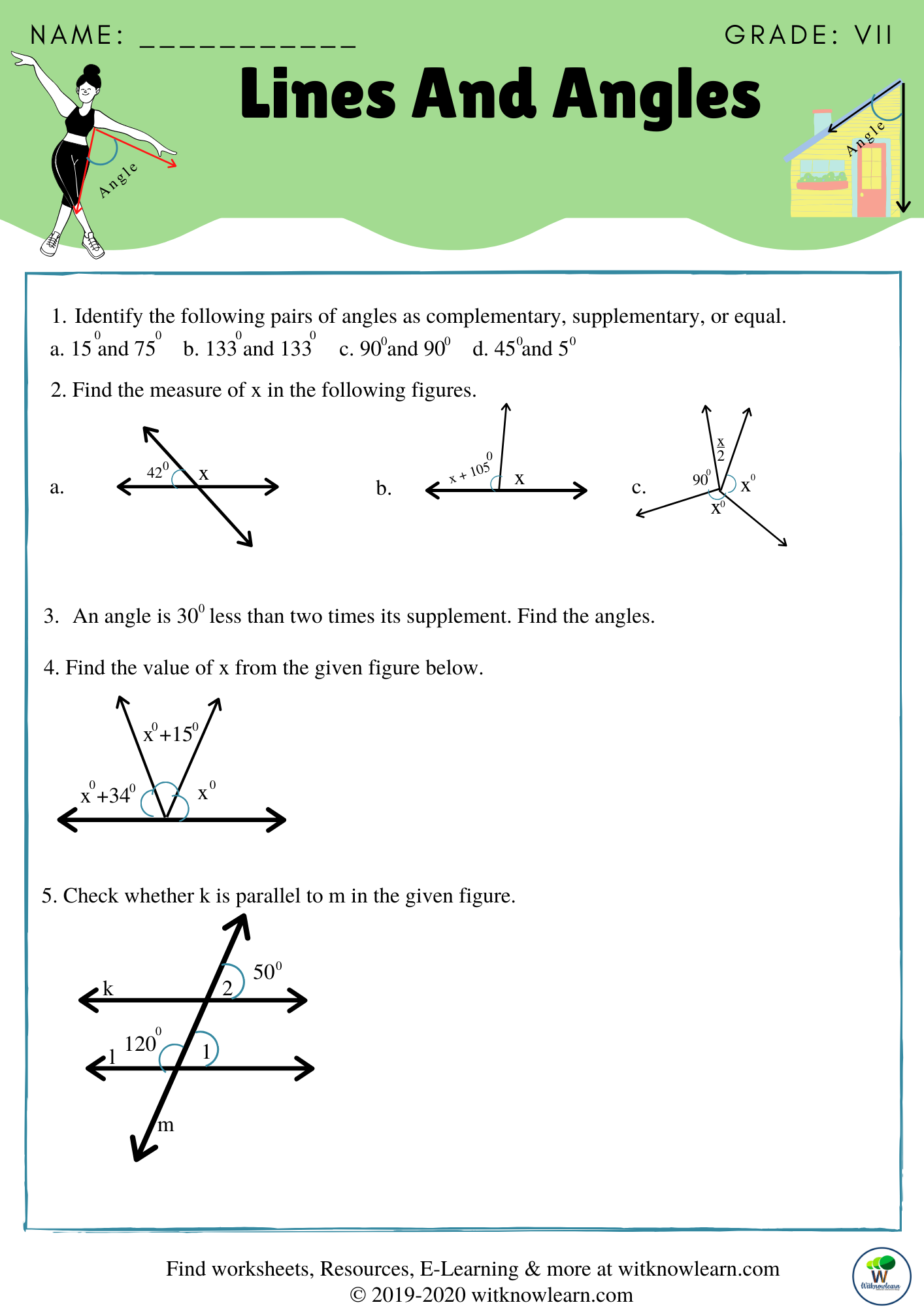 Missing Supplementary Complementary Angles Worksheet   Printable Worksheets  and Activities for Teachers [ 2000 x 1414 Pixel ]