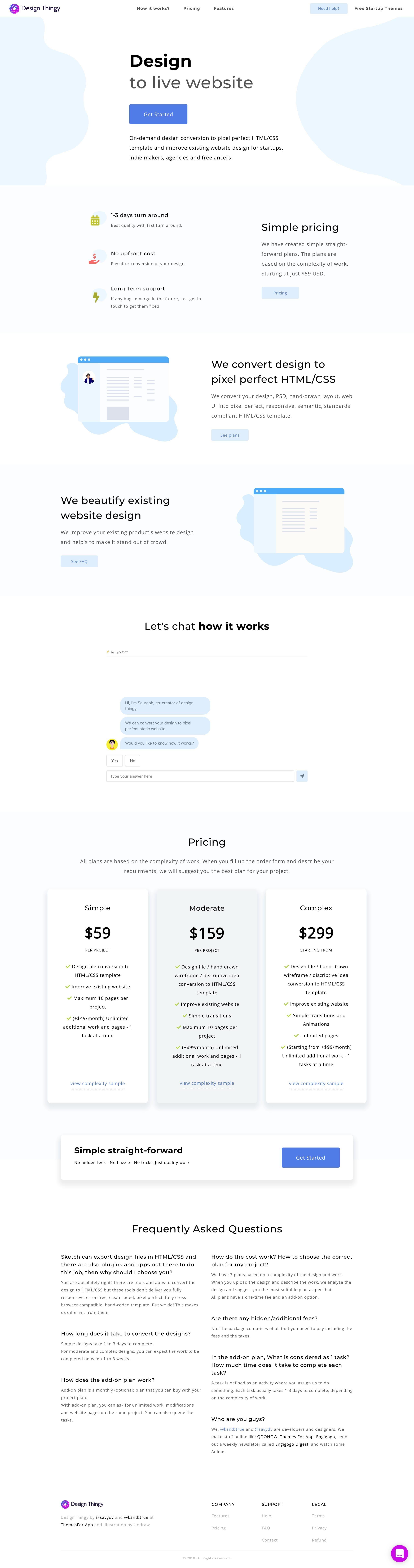 Clean Landing Page for DesignThingy featuring an interactive