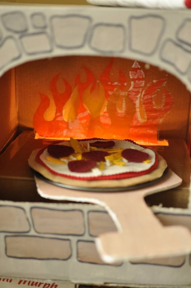 Diy Cardboard Pizza Oven With Laminated Tissue Flames And