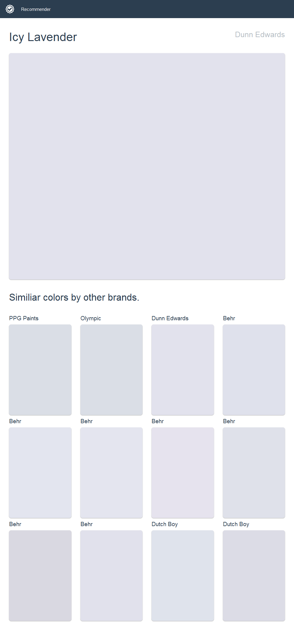 Icy Lavender Dunn Edwards Click The Image To See Similiar Colors By Other Brands Paint Color Combos Stars Nursery Decor Color