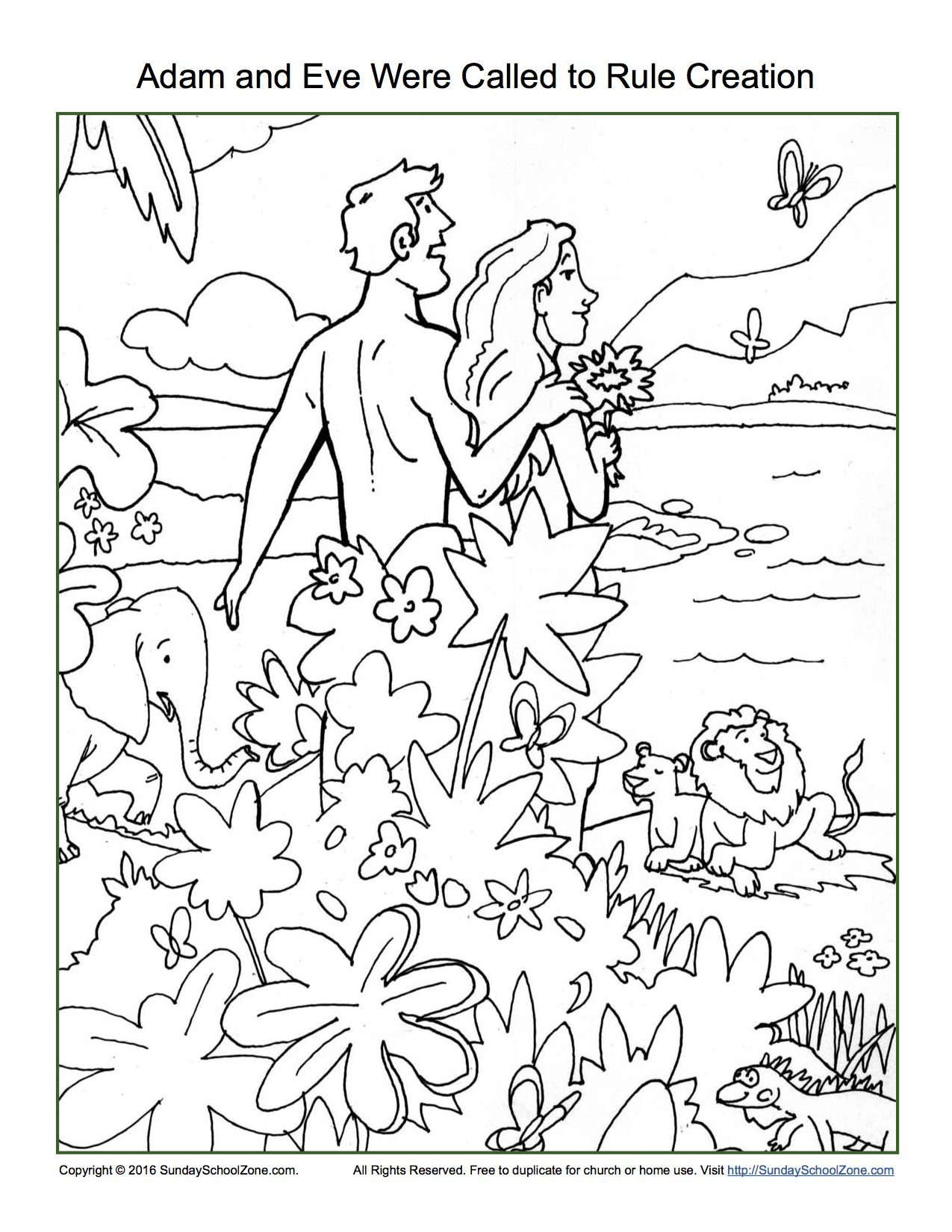 Adam and eve were called to rule creation coloring page for Coloring pages adam and eve