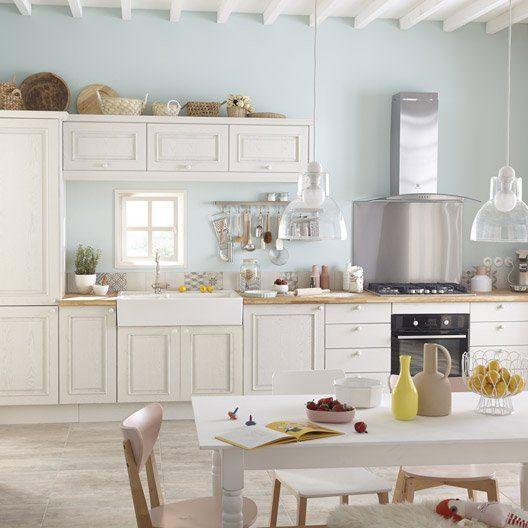 Meuble de cuisine blanc delinia cosy id es pour la - Modele cuisine equipee leroy merlin ...