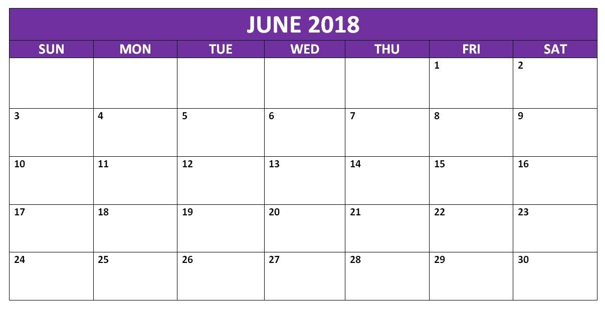 June 2018 Blank Calendar Organizer Blank Calendar Pages