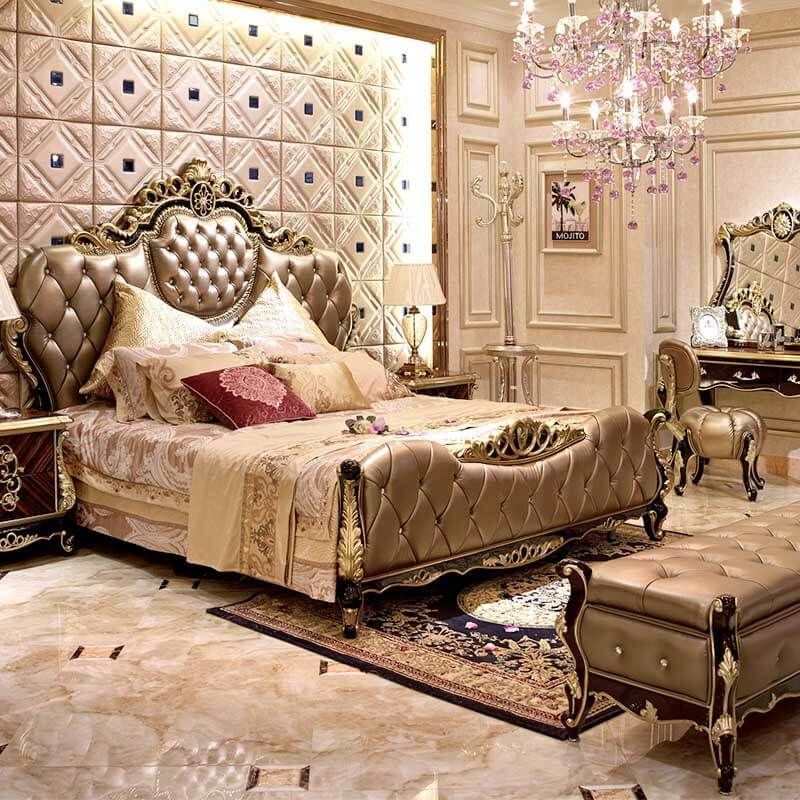 High Quality Traditional Bed Designs Antique Italian Bedroom