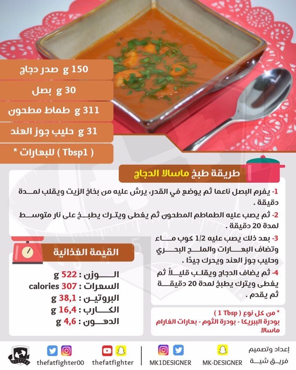 ماسالا الدجاج محسوبة السعرات الحرارية وبمكونات صحية Diet Embroidery Leaf