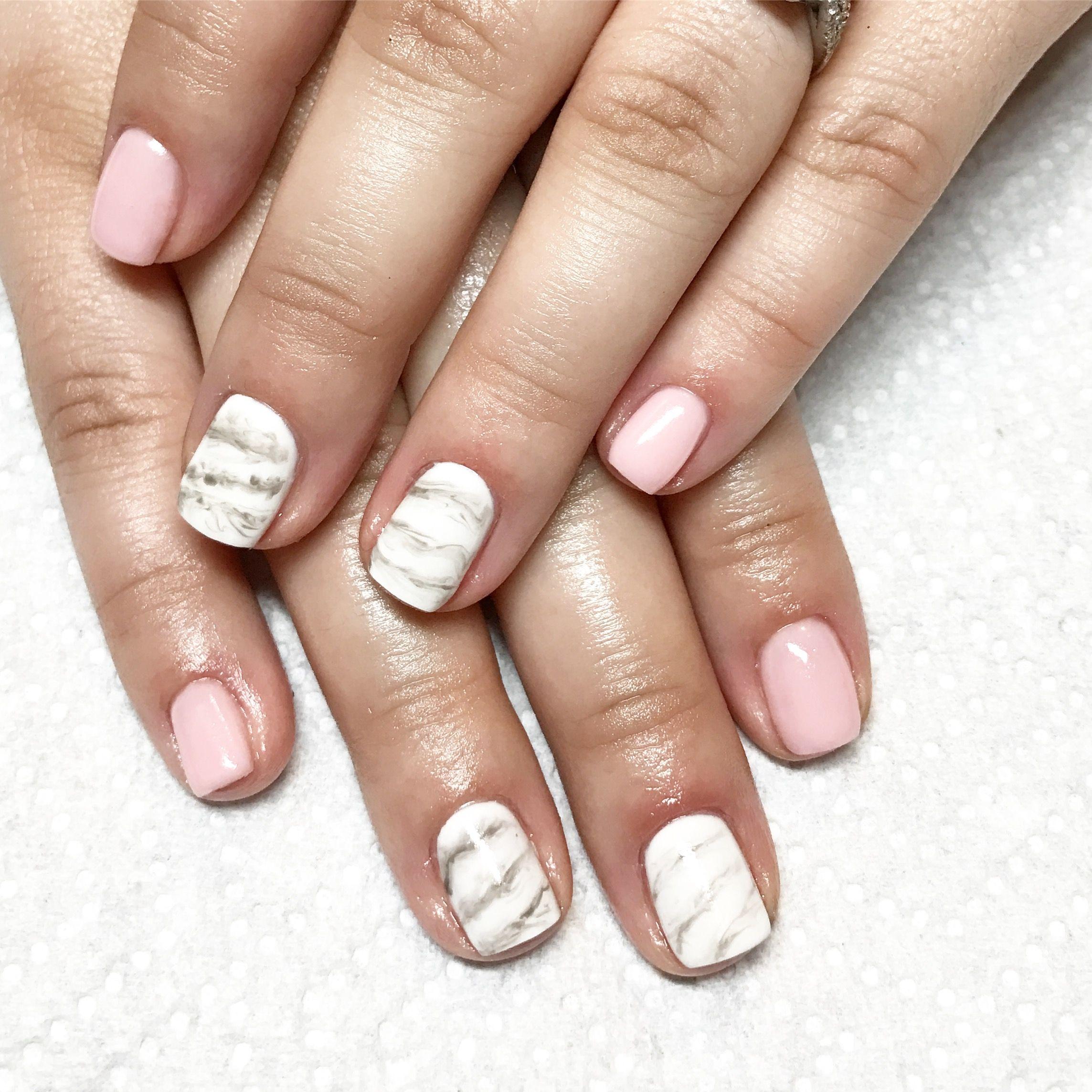 Marble nails. Pink nails. Light pink nails. Gel nails. Short nails ...