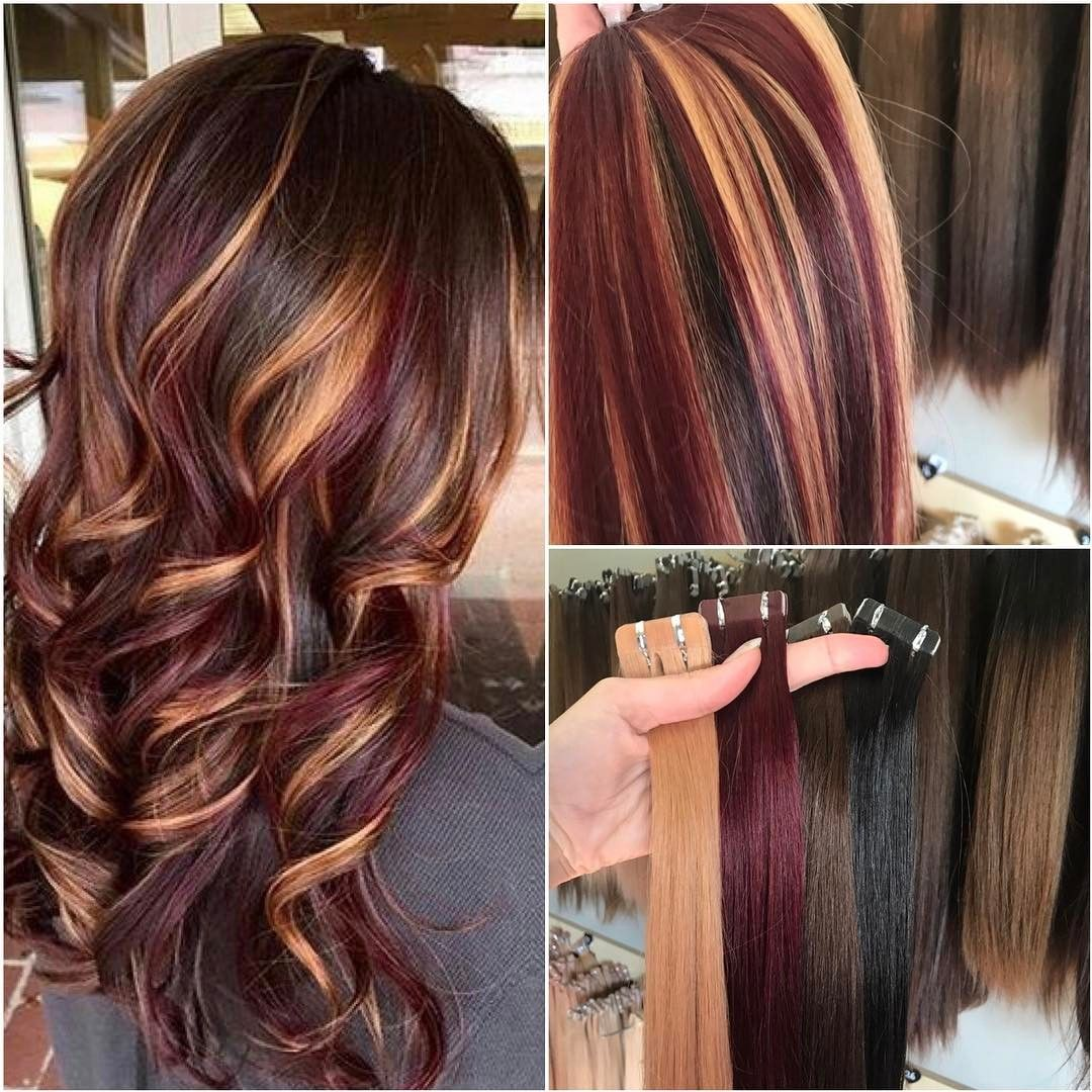 Strands Of Love Extensions On Instagram Create This Look Strands Of Love Colour 99j Colour 27 B Brown Blonde Hair Brunette Hair Color Burgundy Hair