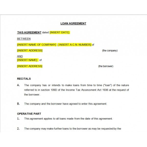 Printable Sample Loan Agreement Form  Real Estate Forms Word