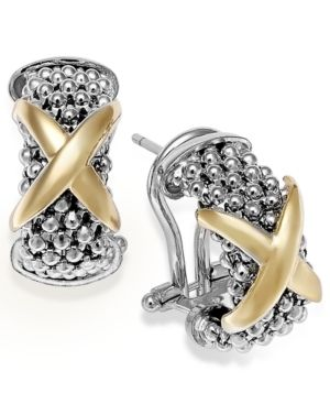 X-Accent J Hoop Earrings in 14k Gold and Sterling Silver