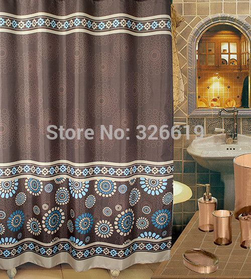Chinese style waterproof coating terylene cloth shower curtain 72\