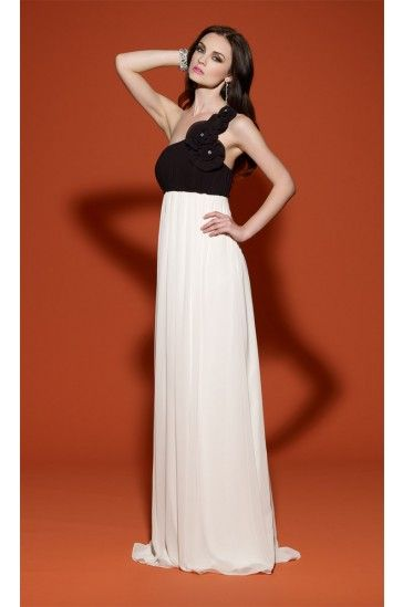 Empire One Shoulder White and Black Evening Dresses #WhiteandBlack #EveningDresses