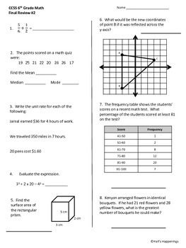 6th Grade Common Core Math Final Review Worksheets Common Core Math Math Review Worksheets Math