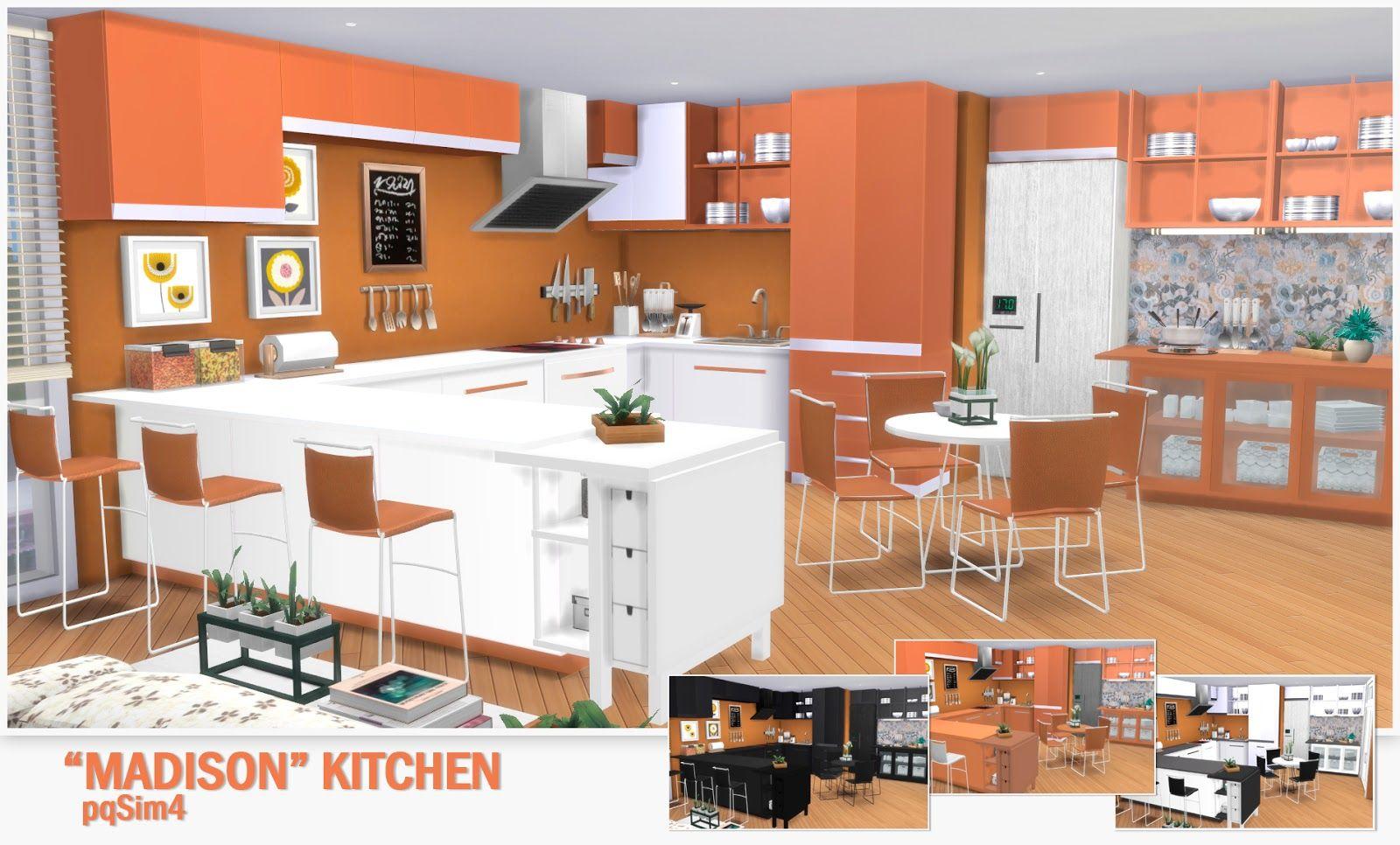 The Sims 4 Cc Madison Kitchen Set The Sims Cc Pinterest