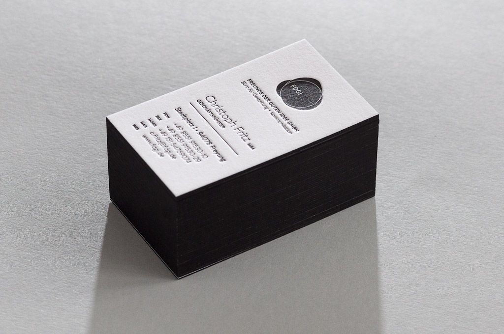 Letterpress Farbschnitt Visitenkarten Business Cards