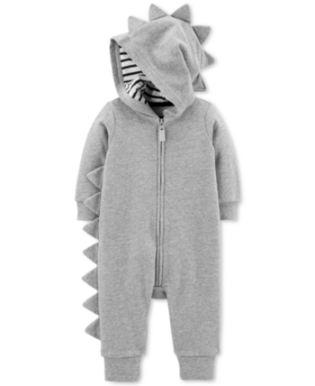 13d23f602 Carter's Baby Boys Hooded Spiked Zip-Up Cotton Coverall - Gray 3 months