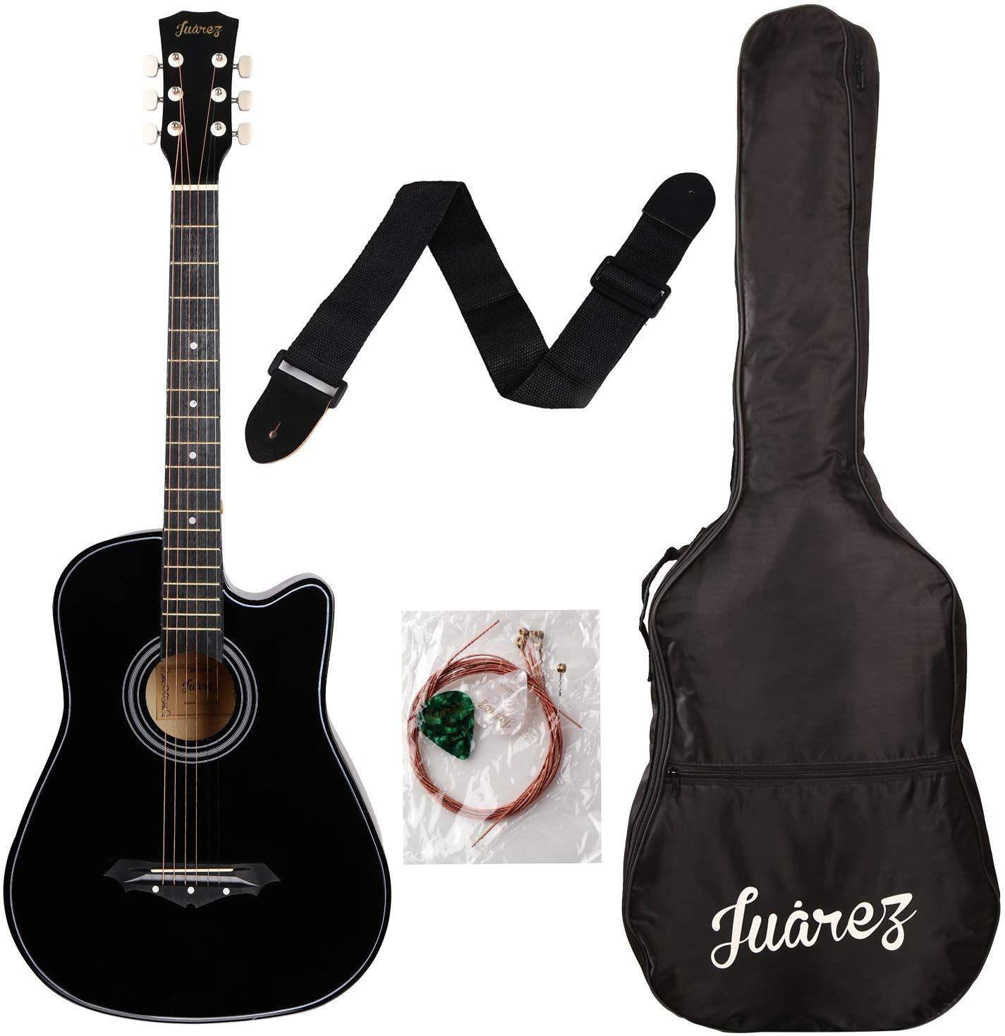 Juarez Acoustic Guitar 38 Inch Cutaway 038c With Bag Strings Pick And Strap Black Acoustic Guitar Kits Guitar For Beginners Best Acoustic Guitar