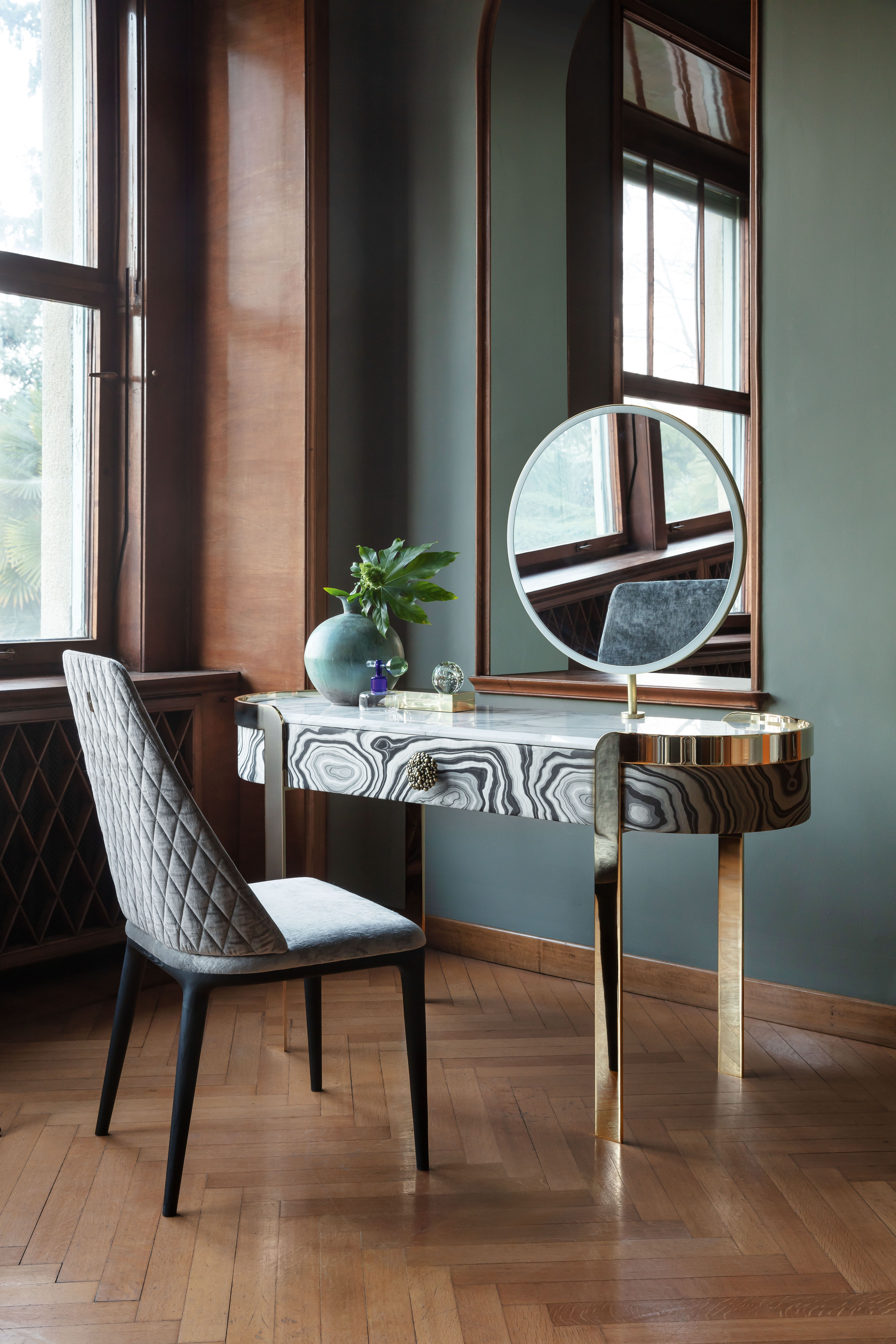 The Doris is a single door dressing table covered in