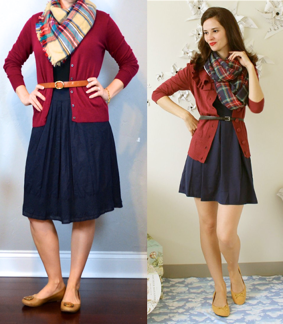 outfit post: burgundy cardigan, black leather belt, navy a-line ...