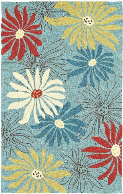 Area Rug 9x12 Rectangle Indoor Outdoor Blue Color Shaw