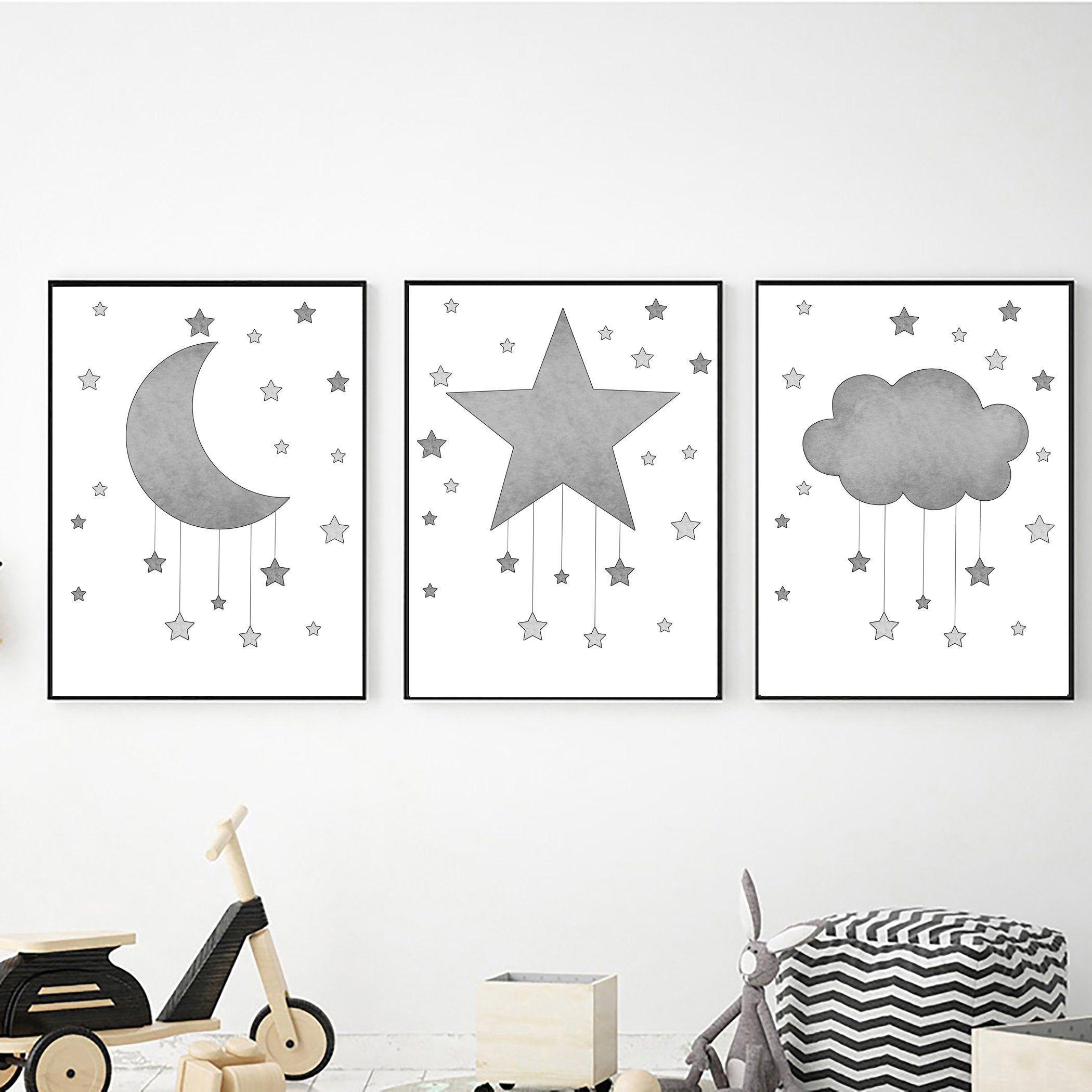 Nursery Printable Wall Art Grey And White Digital Download Etsy Star Wall Art Moon Wall Art Boy Wall Art
