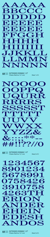 K4 G Decals Dark Blue 1 2 Inch Extended Roman Letter Number Alphabet Set Roman Letters Lettering Alphabet