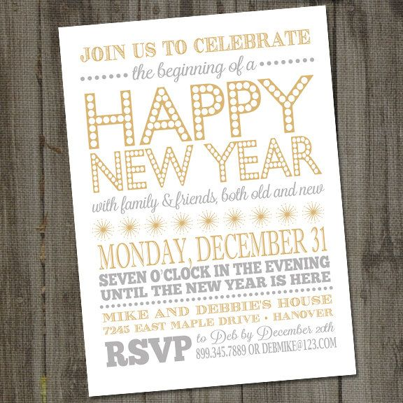 Light and Bright Happy New Year Holiday PRINTABLE Party Invitation – Free Printable New Years Eve Party Invitations