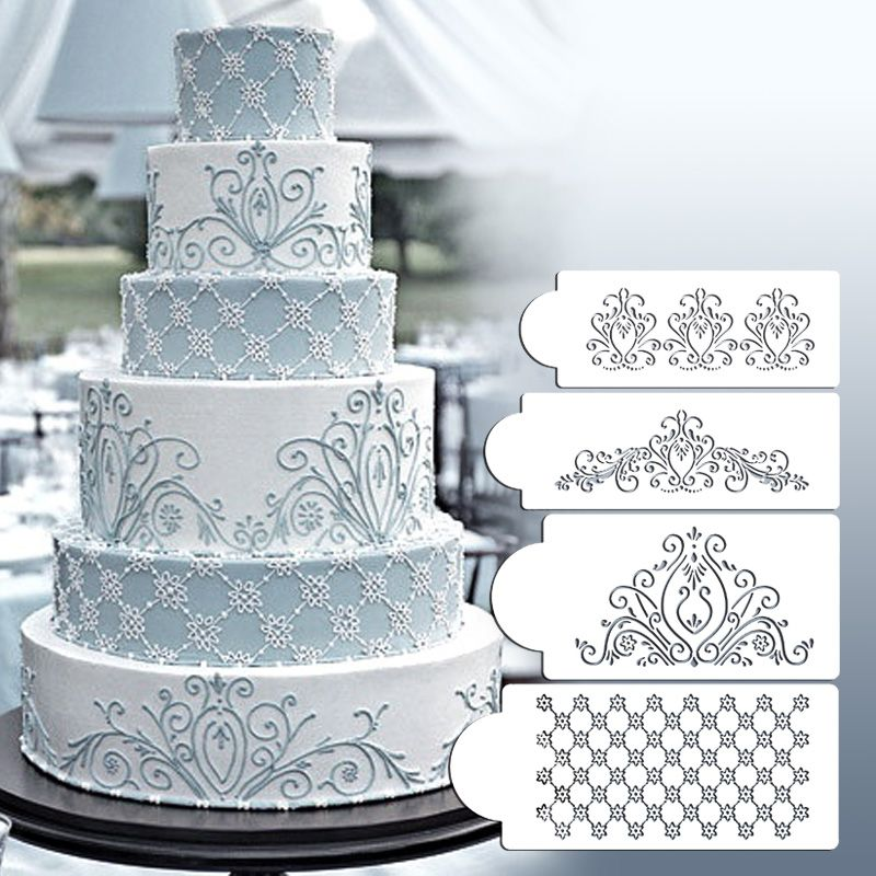 Princess lace cake stencil set cake craft stencils cake for Lace templates for cakes