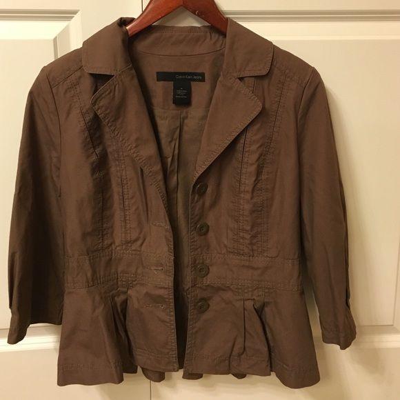 Calvin Klein modern blazer Brand new, never worn.  Calvin Klein chocolate brown blazer with tapering and stitching details. Calvin Klein Jackets & Coats Blazers