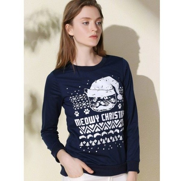 Fashionable Round Collar Letter And Cat Printed Pullover