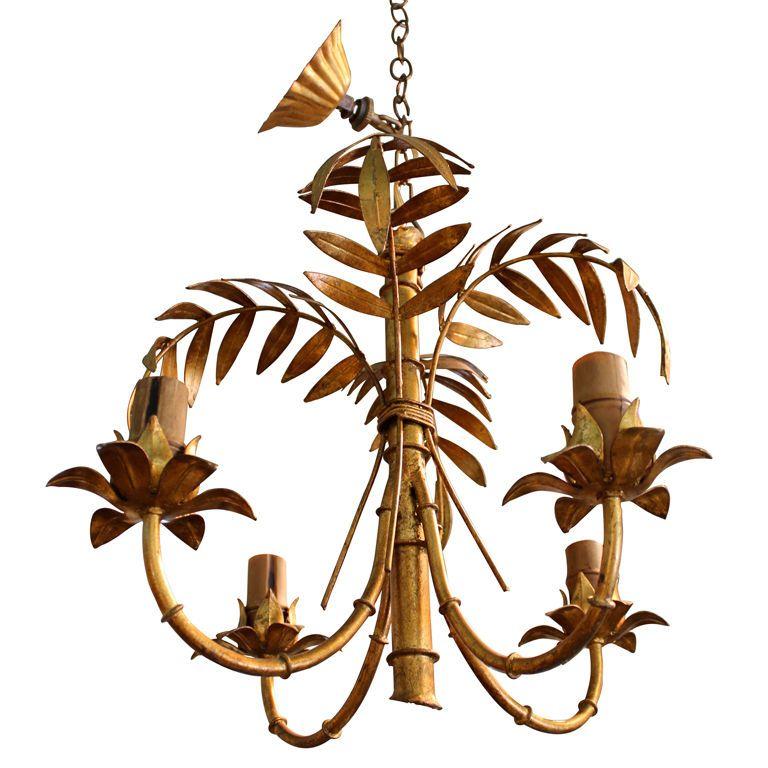 Italian 4 arm gilt metal palm tree bamboo chandelier palm pendant italian 4 arm gilt metal palm tree bamboo chandelier aloadofball Images