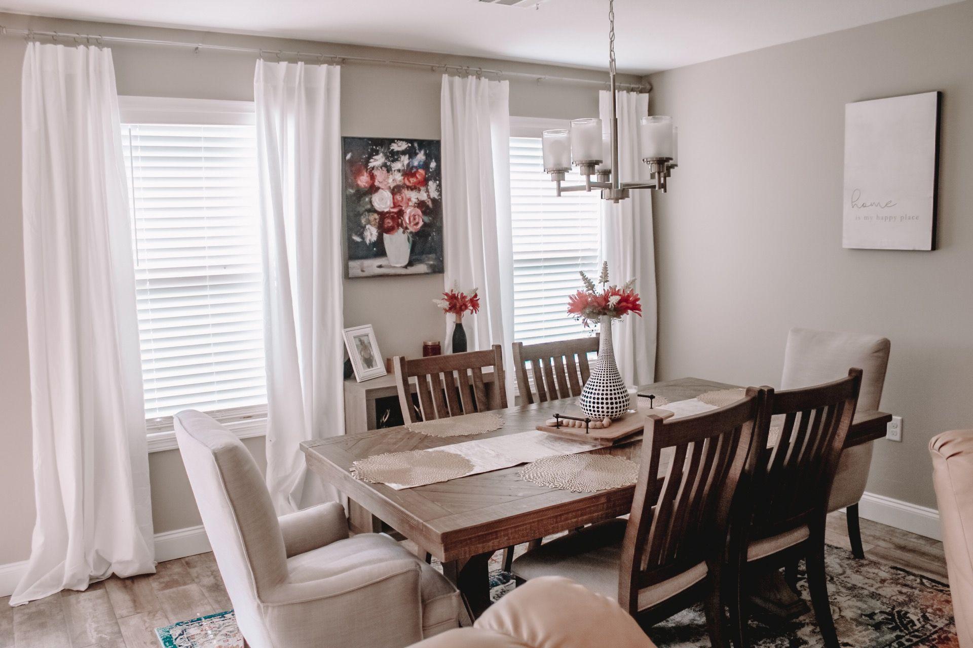 Ashley furniture dining room set, flat sheet curtains
