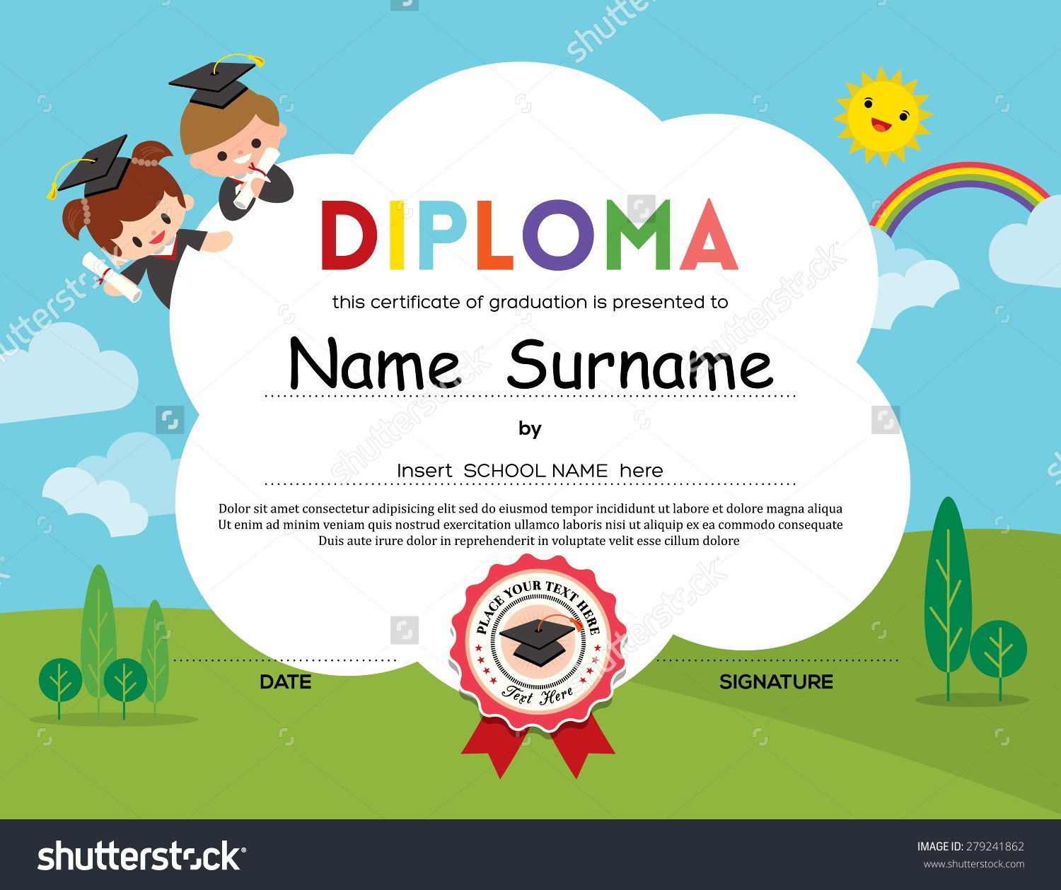 certificate template for kids - stock vector preschool elementary school kids diploma