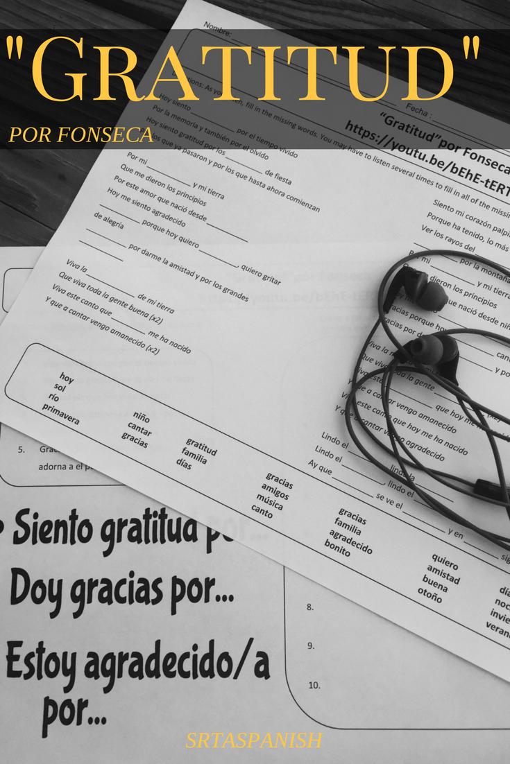 Spanish Thanksgiving Listening Activity Gratitud Cloze Sheet