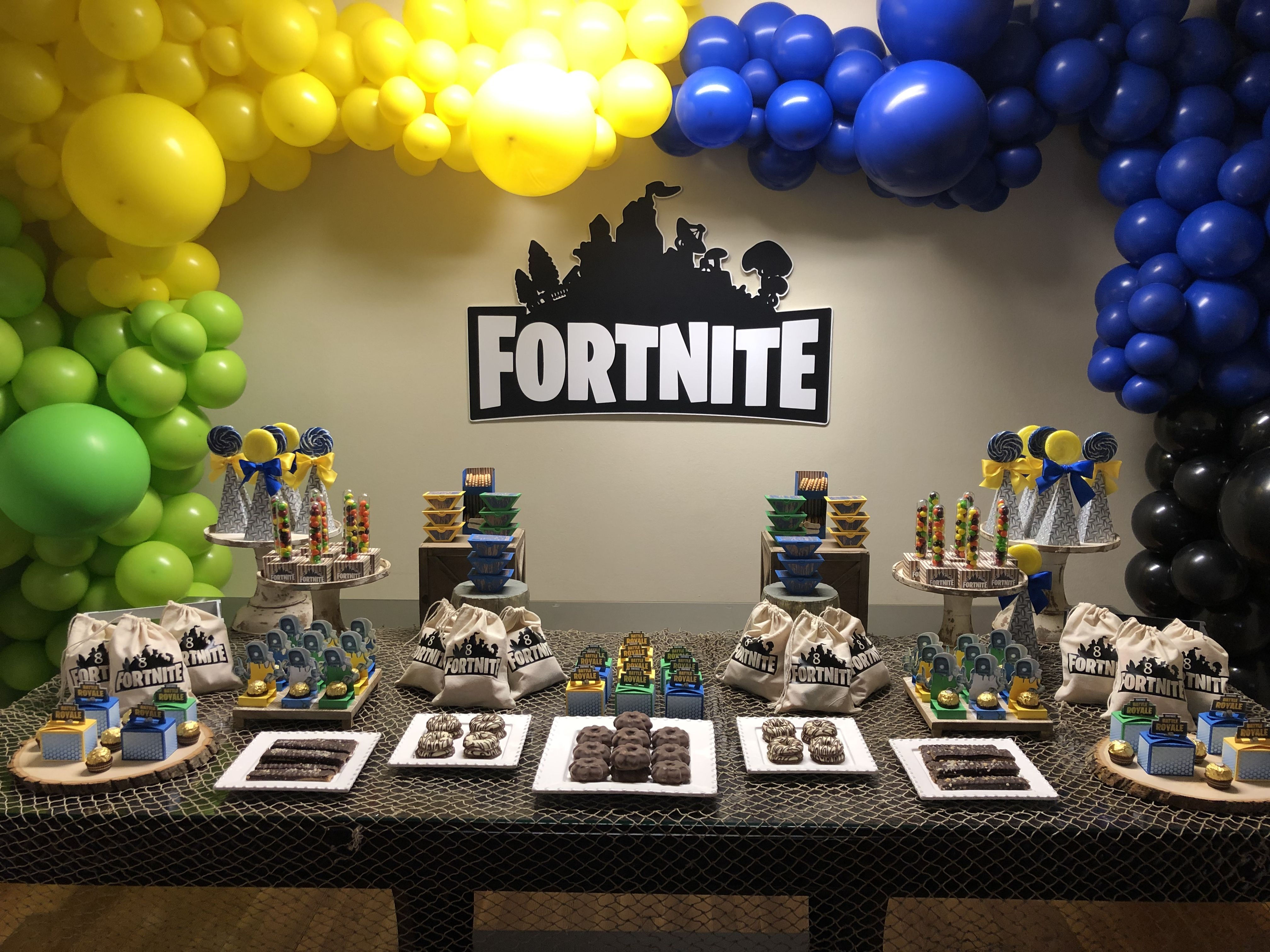 Fortnite Decoración Fiesta De Cumpleaños Para Niños Fiesta De Videojuegos Fiesta De Los 60
