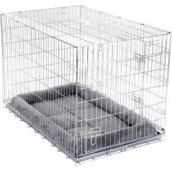 Photo of Double door transport cage with cuddly pillow for dogs with W 55 x D 63 x H 61 cm zoopluszooplus