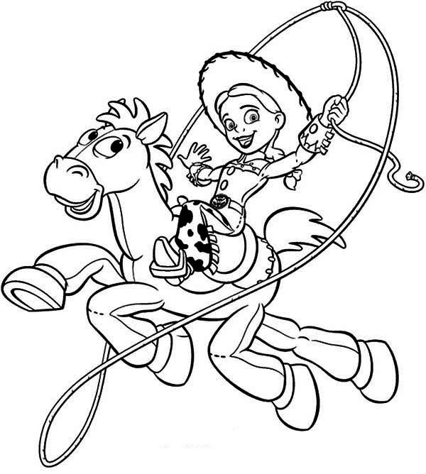 Jessie riding bullseye in toy story coloring 600 for Bullseye coloring page