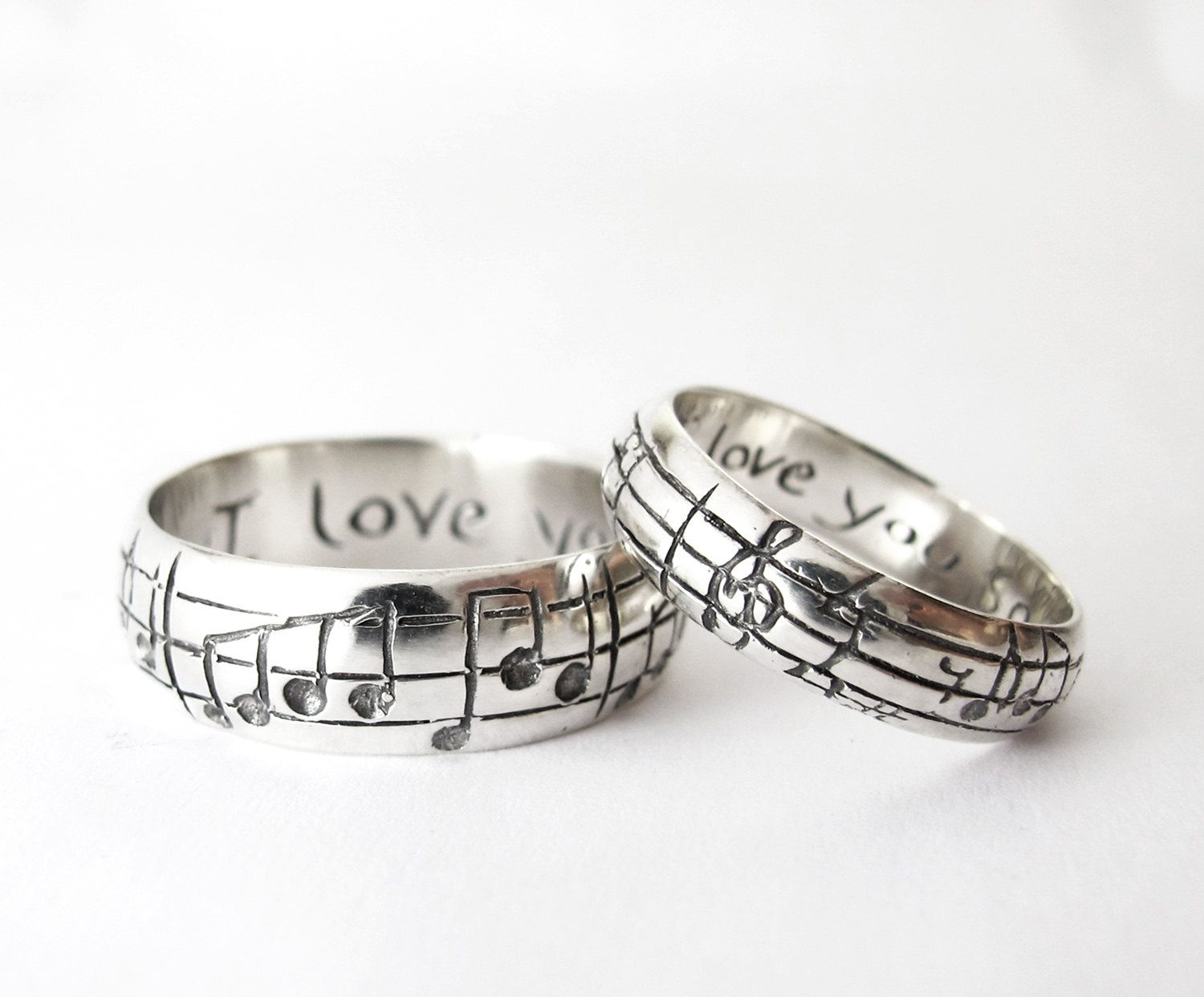 Custom Music Note Wedding Bands  Original Real Music Notes Ring, Sterling  Music Ring, Sheet Music Nerd Wedding Rings, Geekery, Personalize