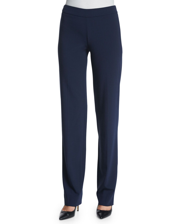 Slim-Fit Side-Zip Pants, Astral Blue, Size: 12 - Armani Collezioni