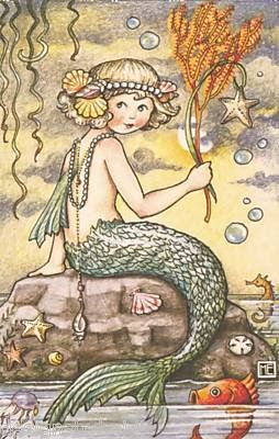 Mary Engelbreit - Mermaid Under the Sea This reminds me of my niece, I would love to have a framed print of this.