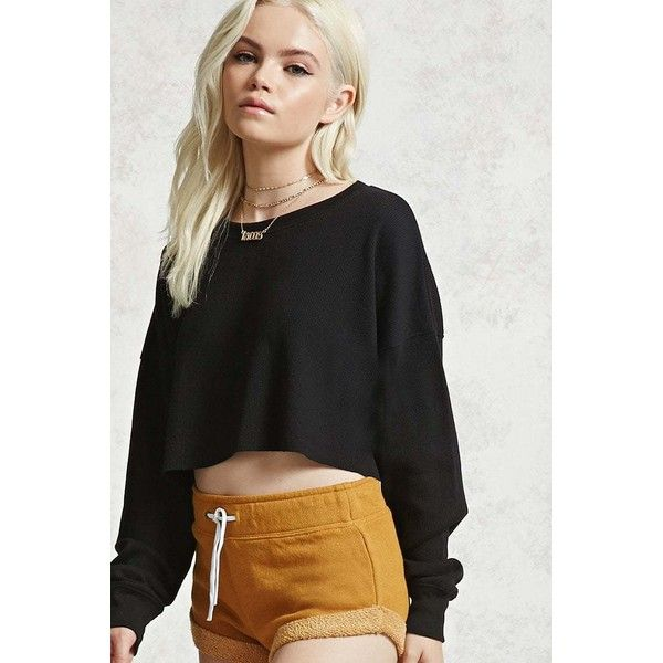 Forever21 Raw-Cut Crop Top ($13) ❤ liked on Polyvore featuring tops,